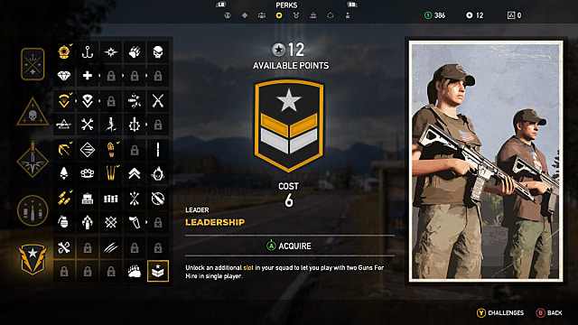 The Far Cry 5 Perks screen showing Leadership