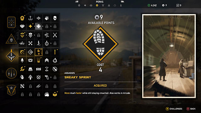 Perk selection screen for sneaky sprint in Far Cry 5