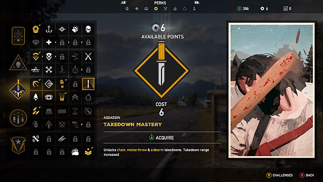 A man being hit with a blunt object on the right side of this Far Cry 5 perk selection screen for Takedown mastery