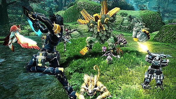 Characters in Phantasy Star Online 2 attacking enemies in a green field.