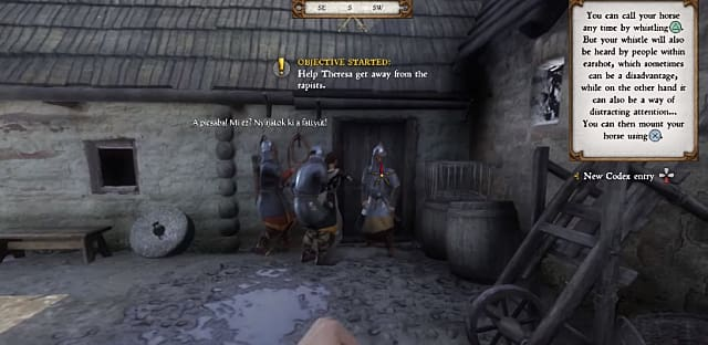 Guards accosting Theresa outside her home in Kingdom Come: Deliverance