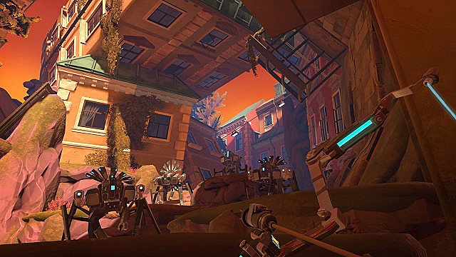 Player pulls back shock arrow as they face robots on a cliff in Apex Construct