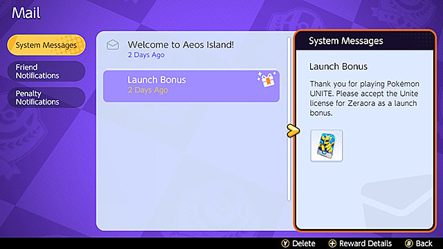 How to claim Zeraora in the Pokemon Unite system messages menu.