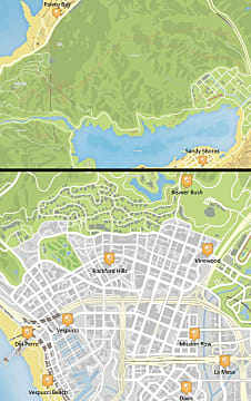 Map of Los Santos showing all of the police station locations.
