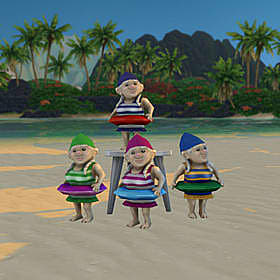Four gnomes with pool caps, bathing suits, and floats.