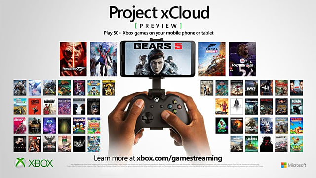 Promotional xCloud still featuring a library of more than a dozen games.
