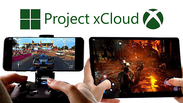 Project xCloud promotional still featuring games played on phones and tablets.
