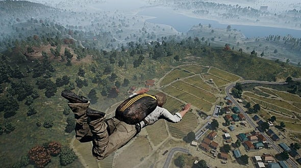 PUBG player skydiving into battle