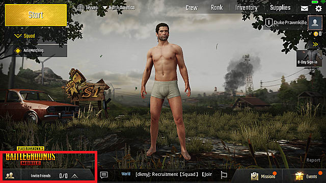 PUBG Mobile homescreen shows gameplay options and man in underwear