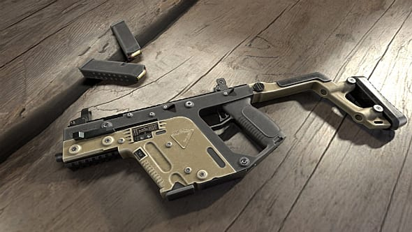 A PUBG submachine gun lies on wooden boards