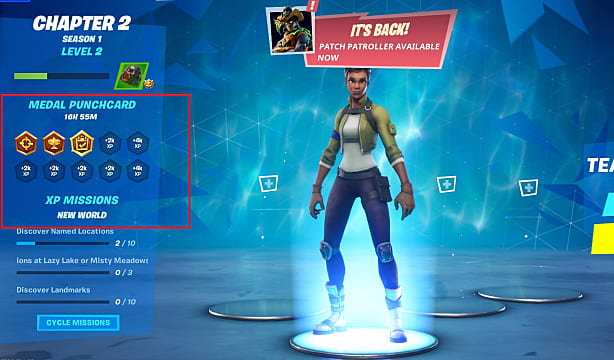 The medal punchcard system is new to Fortnite Chapter 2, and changes player progression.