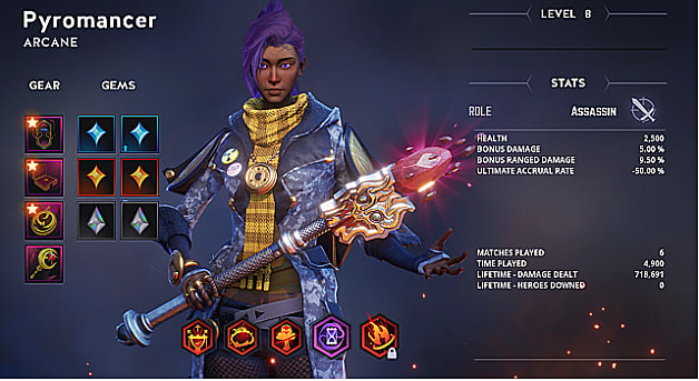 Purple-haird pyromancer holds staff on Breach stat level screen