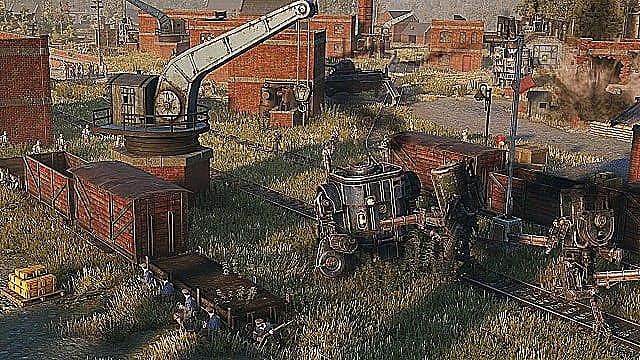 Polania soldiers hide behind a rail car in a rail yard waiting to attack unsuspecting enemy soldiers and mechs.