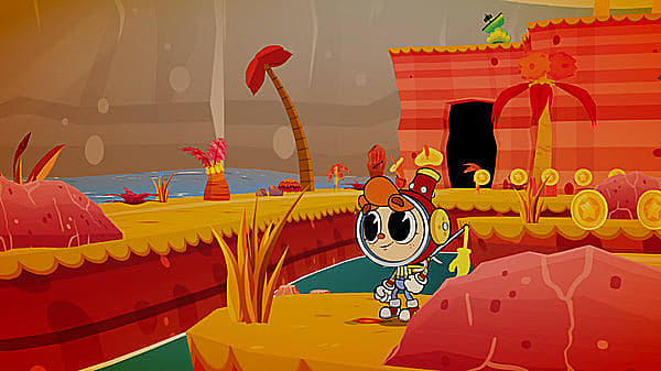 Billy in a spacesuit in vibrant red and yellow landscape drawn like Cuphead.