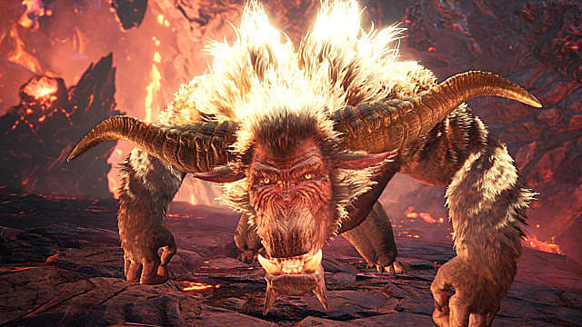 Rajang crouches into a leaping attack in Monster Hunter: World Iceborne.