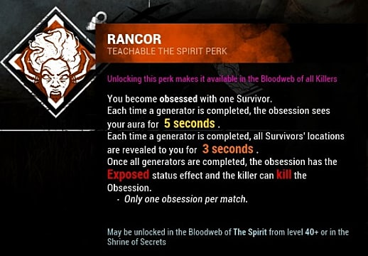 A skill card showing the Rancor teachable perk in Shattered Bloodline