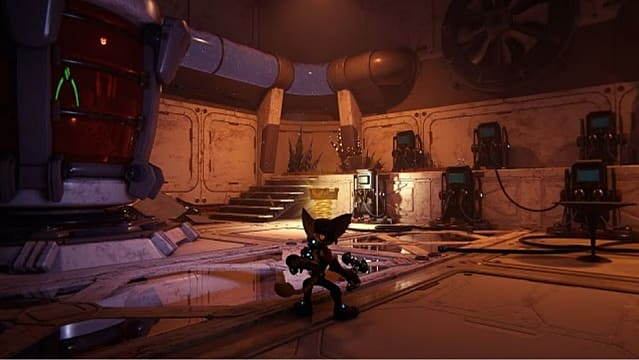 Ratchet by a gold bolt in the underwater base on Cordelion.