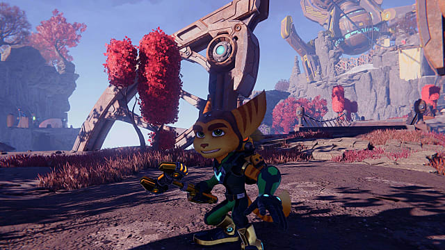 Ratchet in a fighting stance holding his trusty wrench with red tress in the background.