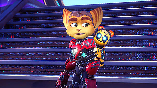 Ratchet looking over his shoulder at clank on his back.