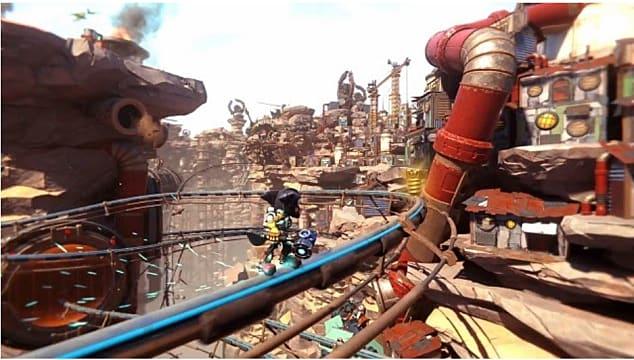 Ratchet grinding a rail toward a gold bolt in an industrial area.
