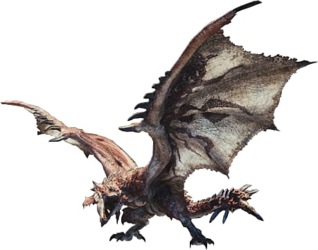Rathalos spreads his wings and roars at our hunter