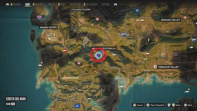 Map of El Rato's location at Montero Farm.