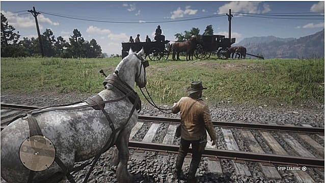 Arthur Morgan leads a horse across trains tracks