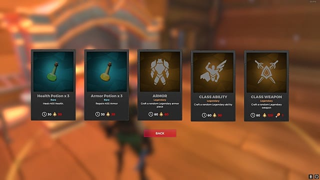 The forge options menu shows choices, their forge times, and shard costs