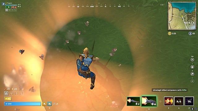 A mage performs a superhero jump down
