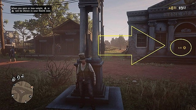 Red Dead Online character in Rhodes showing gold nugget acquisition rate