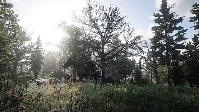 Arthur Morgan rides a Kentucky Saddler in the woods with sunlight filtering through trees