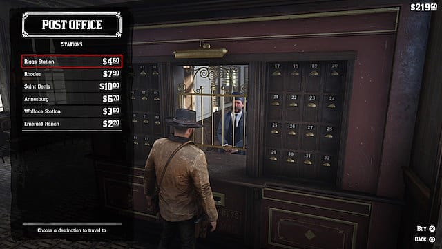 Arthur Morgan buys a train ticket from the post office in RDR2
