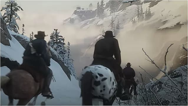 Outlaws riding horses in the snow