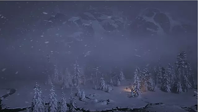 A wide angle night shot of Arthur Morgan riding through a snowy forest