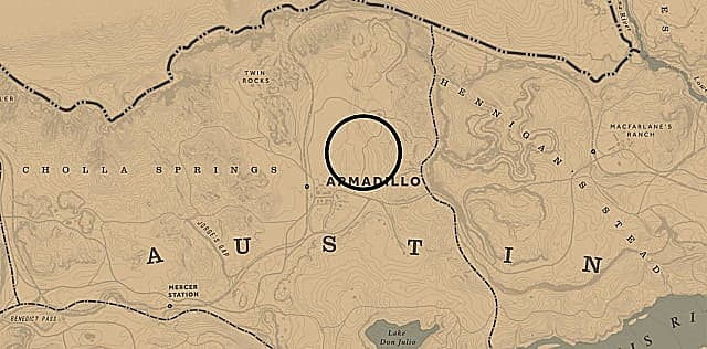 A map showing wild feverfew locations north of Armadillo in Red Dead Redemption 2, Red Dead Online.