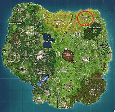 Fortnite map with the location of Risky Reels circled in red