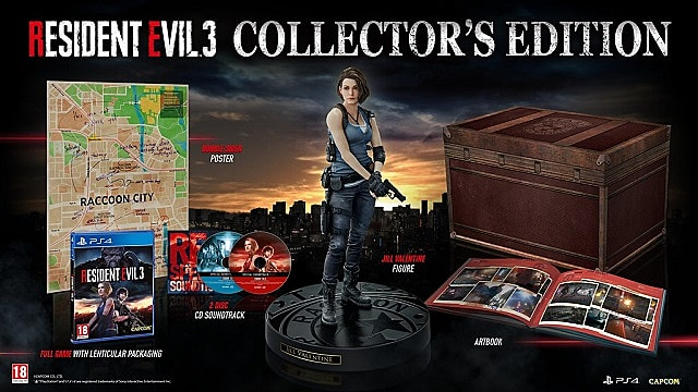 Resident Evil 3 remake collector's edition with Jill Velntine statue, map, art book, and game.