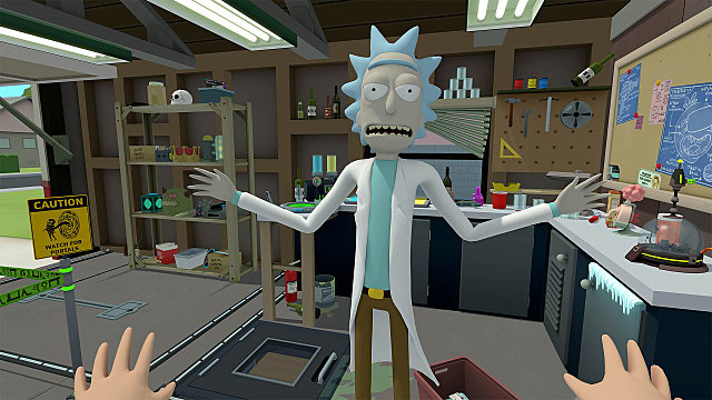 Rick stands in his laboratory/garage in Rick and Morty: Virtual Rick-ality