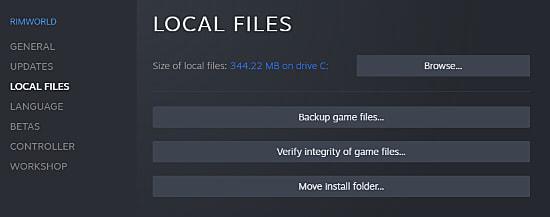 The verify local files option in Rimworld's Steam options.