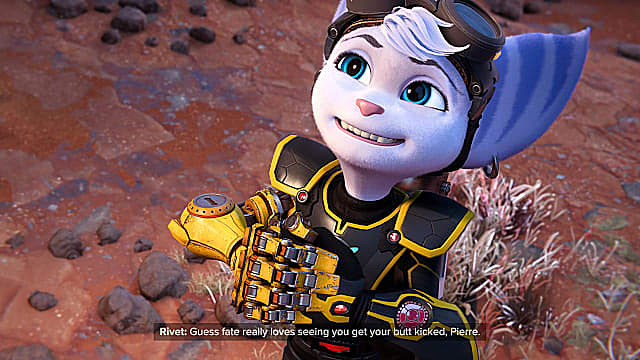 Rivet looking up while smiling and clutching her robotic hands together.