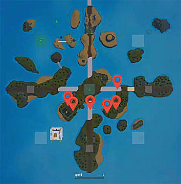 Map of islands showing gems chest locations with red markers.