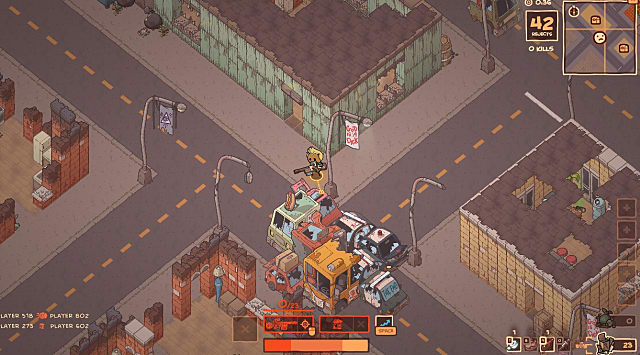 A player with yellow hair holding a shotgun stands on top of a dozen wrecked cars in the middle of the street