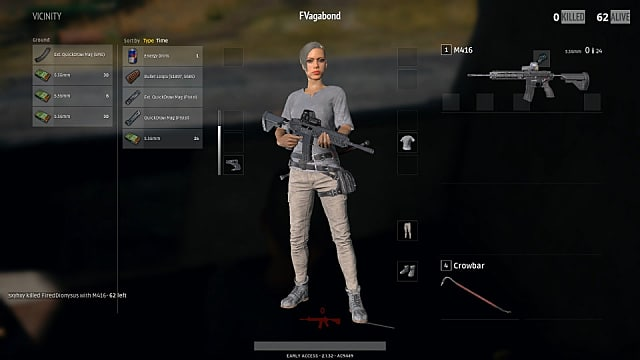 PLAYERUNKNOWN'S BATTLEGROUNDS, guns, inventory