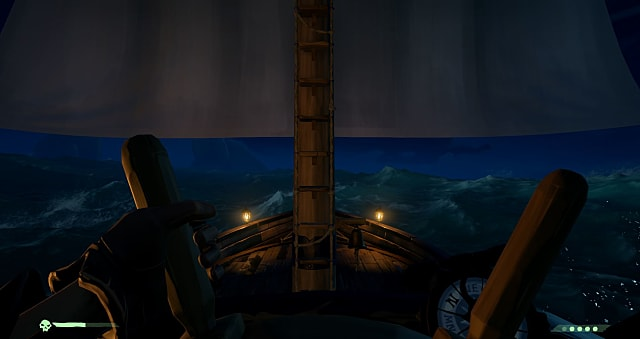 Steering a pirate ship in nighttime waters