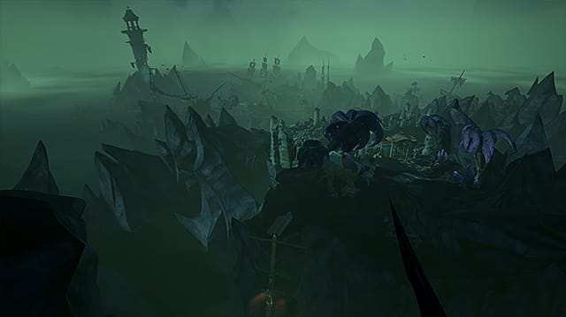Establishing shot of Sailor's Grave covered in green fog and darkness.