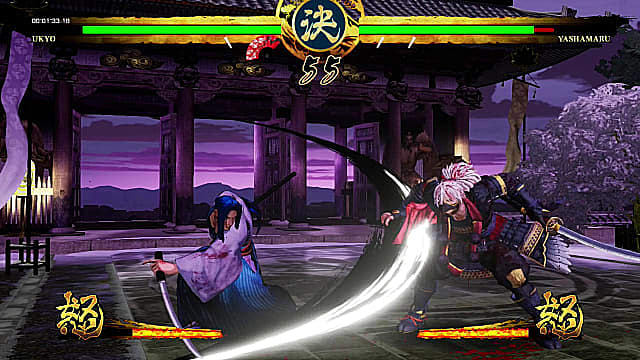 Ukyo fights Yashamaru in Samurai Shodown on the Nintendo Switch.