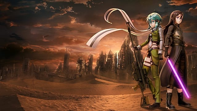Characters from SAO:FB standing amidst a setting sun backdrop