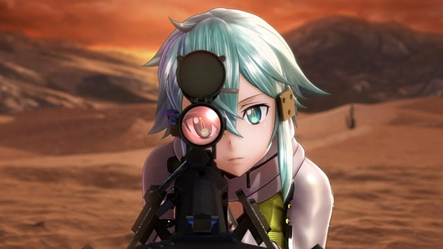 SAO:FB characer aiming down a scope