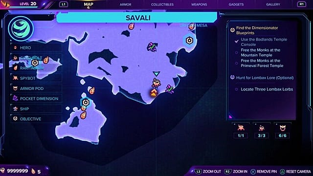 A map of the first gold bolt location on Savali.