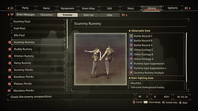Scarlet Nexus library tab showing the Scummy Rummy Others information.